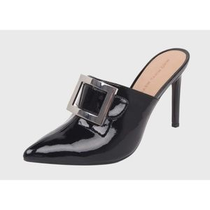 Who What Wear Gemma Patent Buckle Heeled Mules 7.5